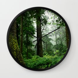 Light Fog in the Dense Forest Wall Clock