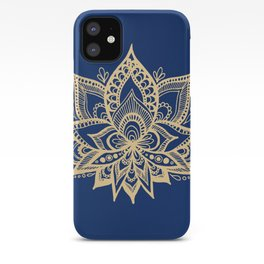 Gold and Blue Lotus Flower Mandala iPhone Case