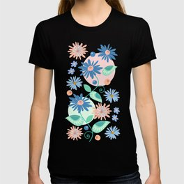 Decorative flowers and leaves T-shirt