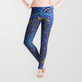 Intricate Purple, Blue  and Vivid Yellow Abstract Kaleidoscope Leggings