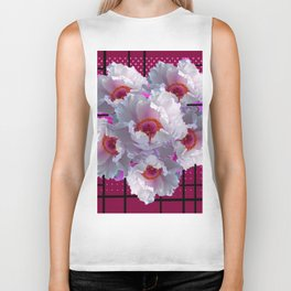 MODERN WHITE TREE PEONY FLOWERS  BURGUNDY-BLACK ART Biker Tank