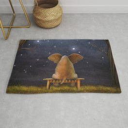 Illustration of a elephant on a bench in the night forest  Rug