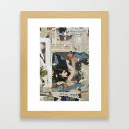 Untitled girl with smeared lipstick Framed Art Print