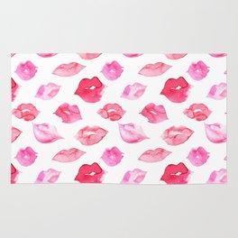 Watercolor pink lips pattern Rug