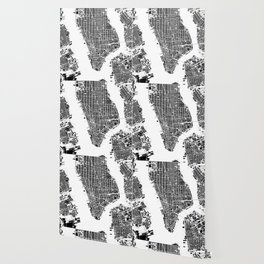 New York city map black and white Wallpaper