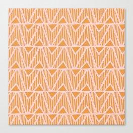 mala, african tribal pattern tangerine Canvas Print