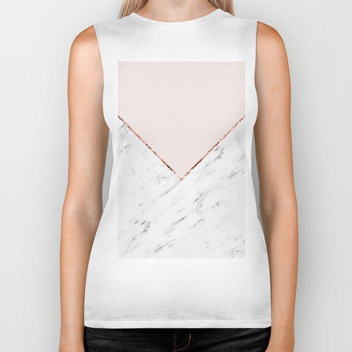 Peony blush geometric marble Biker Tank