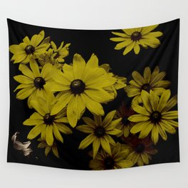 Yellow Daisies Old Antique Look Wall Tapestry