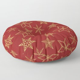 Snowflakes Red And Gold Floor Pillow