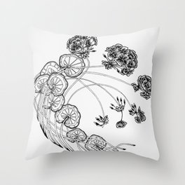 Floral Geranium Medallion Throw Pillow