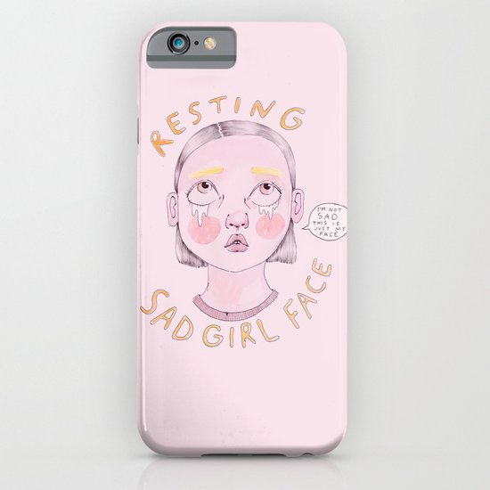 Resting Sad Girl Face iPhone & iPod Case