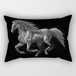Galloping Ghost Silver Horse Rectangular Pillow