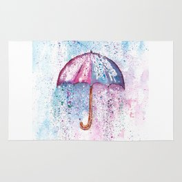 Umbrella Watercolor Painting Rug