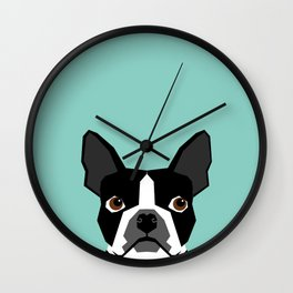 Logan - Boston Terrier pet design with bold and modern colors for pet lovers Wall Clock