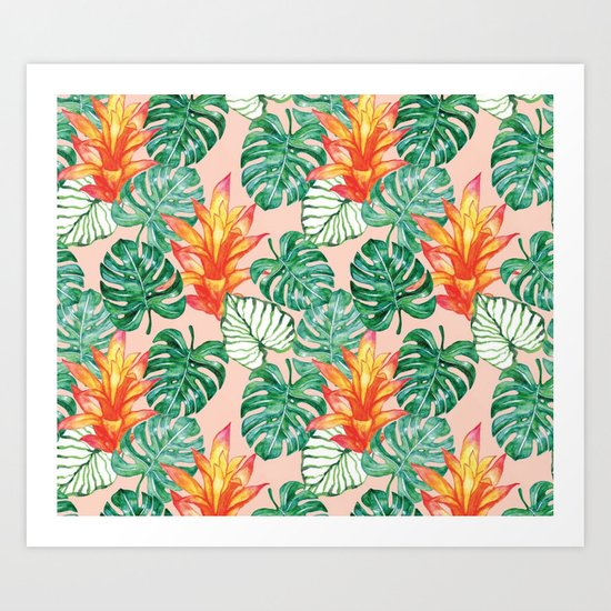 Peach tropical floral Art Print