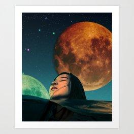 Swimming In Ocean Planet Dreamscape Art Print