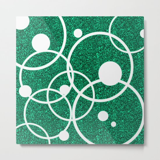 Circles on Green and Black Metal Print