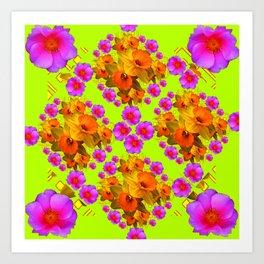 Chartreuse Color Golden Daffodil Rose Art Art Print