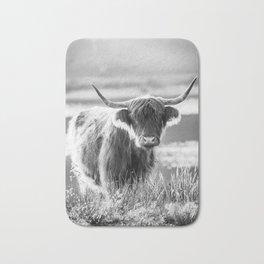 Scottish Highland Cattle in black and white Bath Mat