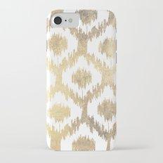 Modern white hand drawn ikat pattern faux gold  iPhone 7 Slim Case