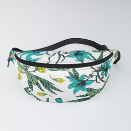 Blooming blossoms bluish Fanny Pack