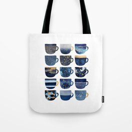 Pretty Blue Coffee Cups Tote Bag