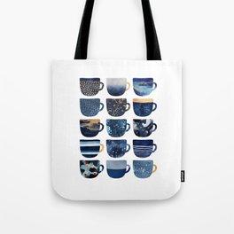 Pretty Blue Coffee Cups Tote Bag
