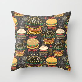 Graphic seamless pattern bright tasty burgers on a dark background Throw Pillow