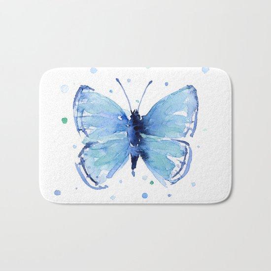 Blue Butterfly Watercolor Butterflies Animals Bath Mat