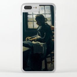 Woman sewing Vincent van Gogh, 1885 Clear iPhone Case