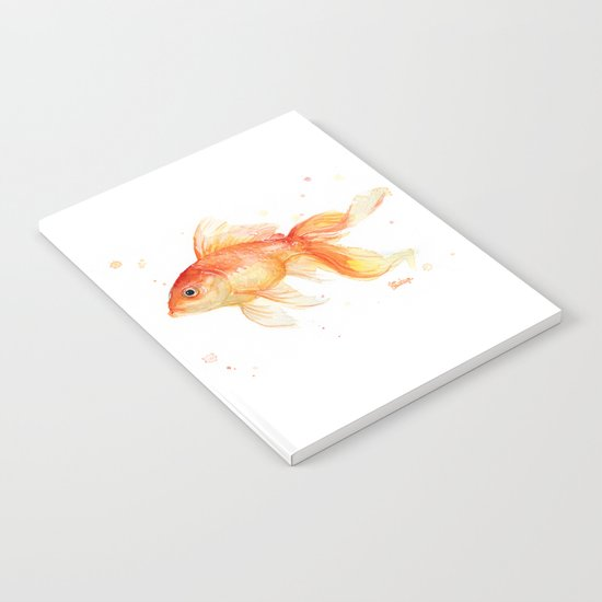 Goldfish Watercolor Fish Notebook