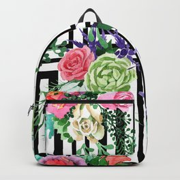 Sophisticated Floral Pattern With Geometric Patterns Backpack