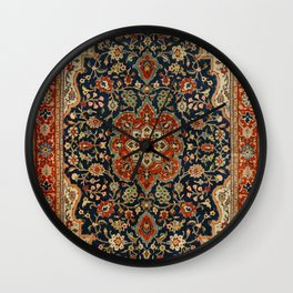Central Persia 19th Century Authentic Colorful Dark Blue Red Tan Vintage Patterns Wall Clock