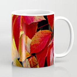 Autumn red vine leaves and yellow background Coffee Mug