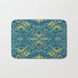 Blue Vines and Folk Art Flowers Pattern Bath Mat