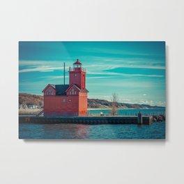 Holland Harbor Pierhead Light aka Big Red Lighthouse on Lake Michigan Metal Print