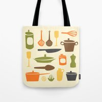 kitchen Tote Bags featuring Kitchen by Bellwheel