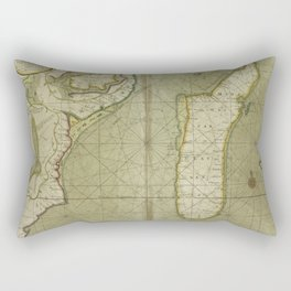 A new draught of the Island of MADAGASCAR ats St. LORENZO with Augustin Bay and the Island of Mombass at Large Rectangular Pillow