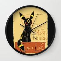 umbreon Wall Clocks featuring Ombre Noir by Ruwah