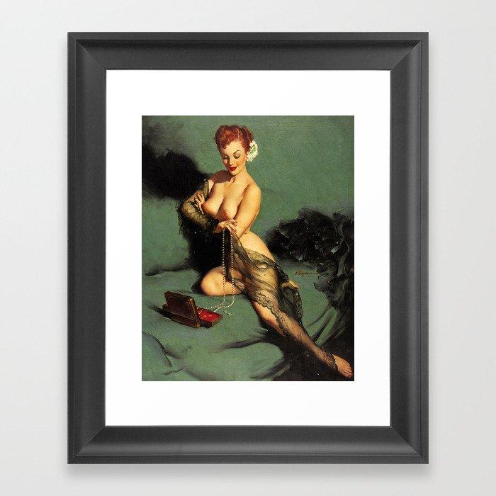 Fascination Gil Elvgren Pin Up Girl Framed Art Print by