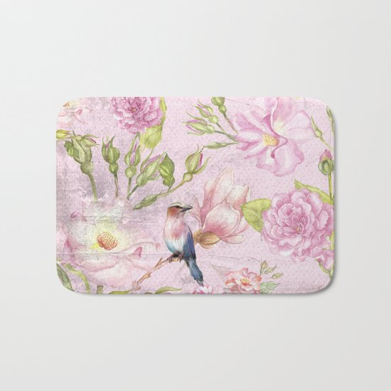 Floral painterly background in pink with Roses Flowers and Birds Bath Mat