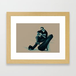Guitarist playing on the street. Drawing illustration Framed Art Print