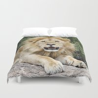 the lion king Duvet Covers featuring Lion King by Meghan M