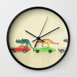 Dinosaurs Ride Cars Wall Clock