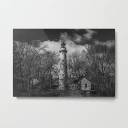 Grosse Point Poe Style Lighthouse Lake Michigan Evanston Illinois Black and White Metal Print