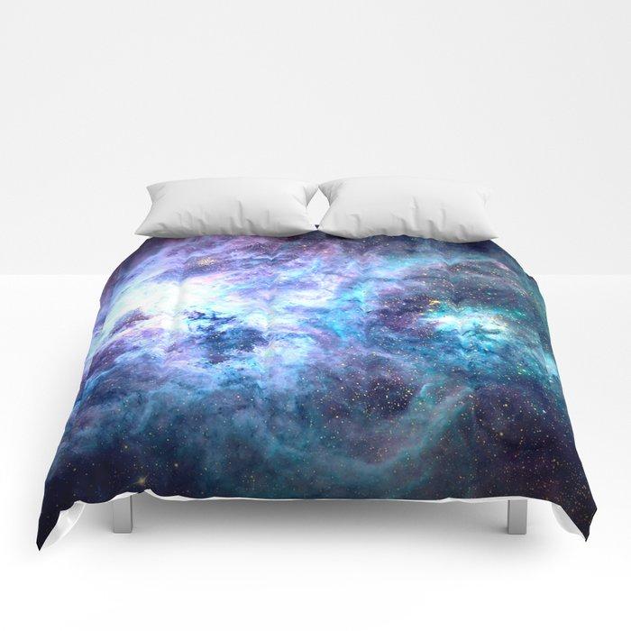Tarantula Nebula Blue Lavender Gold Comforters