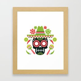 Mexican Cinco De Mayo Skull Party Framed Art Print