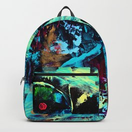 Undaunted A - Abstract in Black and Blue Backpack