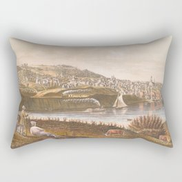 Vintage Pictorial View of Augusta ME (1854) Rectangular Pillow