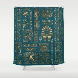 Egyptian hieroglyphs and deities - Gold on teal Shower Curtain
